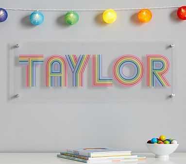 FLOUR SHOP Rainbow Personalized Wall Art - Pottery Barn Kids