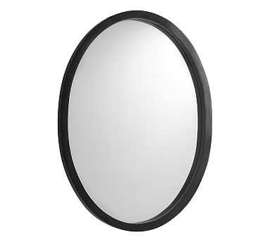 "Venz Black Mango Wood Oval Mirror, 49.25"" x 35.25"" x 3"" - Pottery Barn"