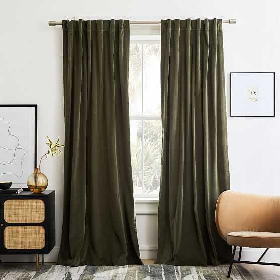 """Cotton Velvet Curtain, Dark Olive, 48""""x84"""" - West Elm"""