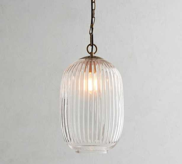Natale Ribbed Glass Pendant, Oval, Antique Brass - Pottery Barn