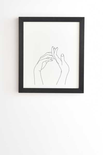 """Hands Line Drawing Abi by The Colour Study - Framed Wall Art Basic Black 11"""" x 13"""" - Wander Print Co."""