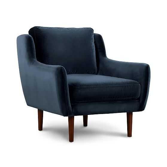 Rory Chair Navy Velvet Walnut - West Elm