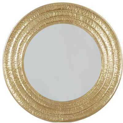 "Large Round Gold Metal Hammered Wall Mirror, 40"" X 40"" - Wayfair"