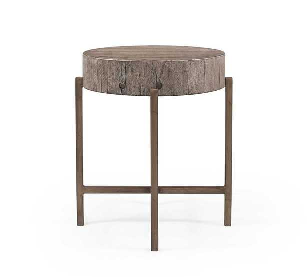 Fargo Reclaimed Wood Round End Table, Distressed Gray - Pottery Barn
