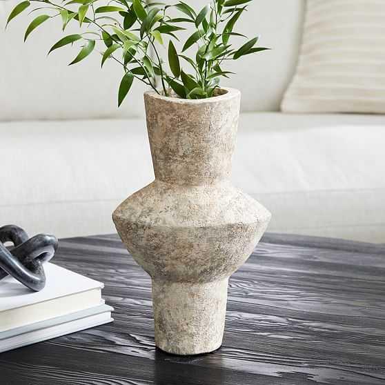 Ceramic Totem Vase, Grey, Large - West Elm