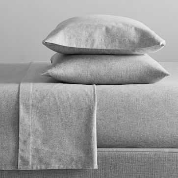 Organic Flannel Solid Sheet Set, Light Gray, Queen - West Elm
