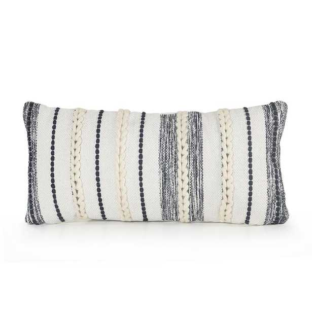 LR Home Braided White / Navy 14 in. x 28 in. Contemporary Throw Pillow - Home Depot