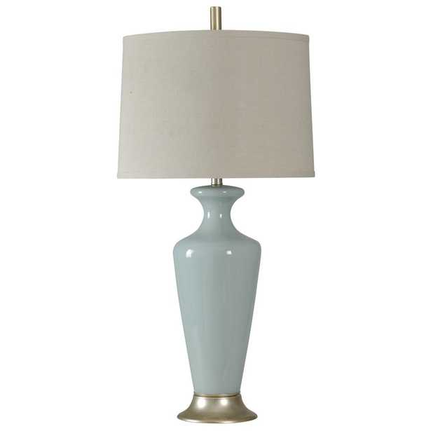 StyleCraft 36 in. Clairtone Blue Table Lamp with White Hardback Fabric Shade - Home Depot