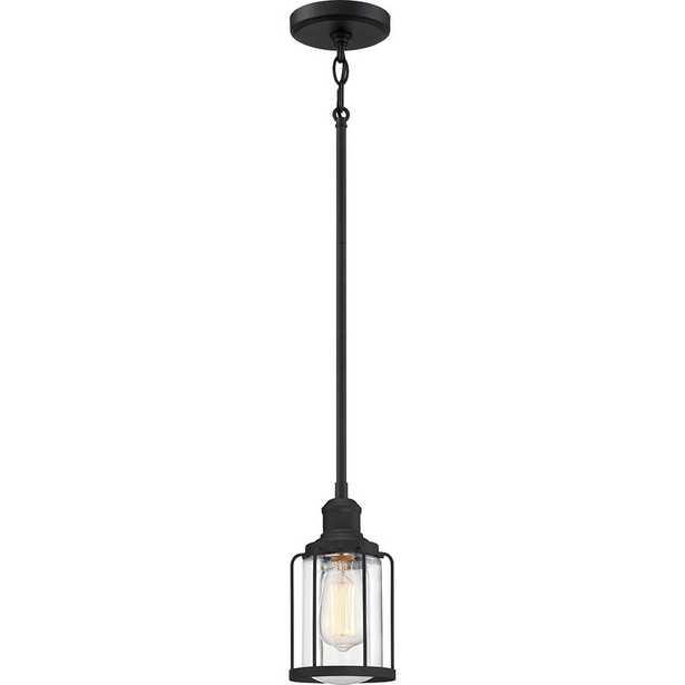 Quoizel Ludlow 1-Light Earth Black Mini Pendant - Home Depot