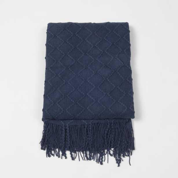 Textured Diamond Navy (Blue) Acrylic Throw - Home Depot