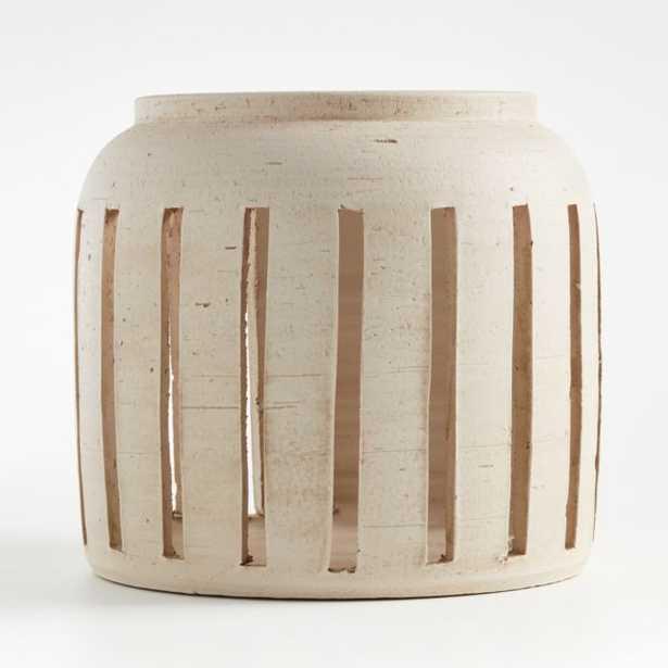 Porto Medium Cream Ceramic Hurricane - Crate and Barrel