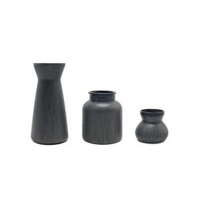 "3 Piece Garzon Gray 9.84"" Glass Table Vase Set - Wayfair"