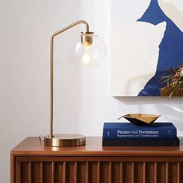 "Sculptural Table Lamp, Globe Mini, Clear, Antique Brass, 6"" - West Elm"