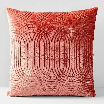 Lush Velvet Infinity Quilted Pillow Cover, Orange Dune - West Elm