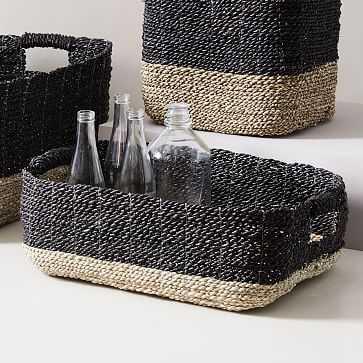 Two-Tone Woven Underbed Basket, Black/Tan - West Elm