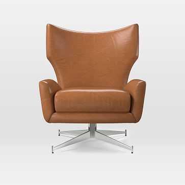 Hemming Swivel Base Chair, Poly, Vegan Leather, Saddle, Polished Nickel - West Elm