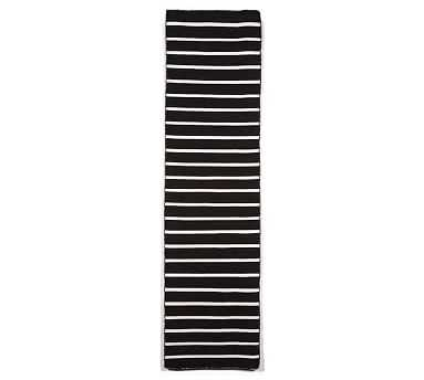 Angue Stripe Indoor/Outdoor Rug, Black, 2 x 8' - Pottery Barn