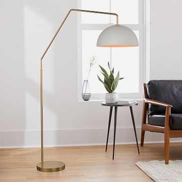"Sculptural Overarching Floor Lamp, Metal Medium, White, Antique Brass, 12"" - West Elm"
