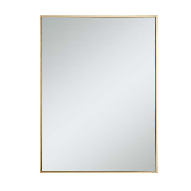 "Elegant Furniture Timeless Home 40""H X 30""W Modern Rectangular Metal Framed Wall Mirror in Brass - Home Depot"