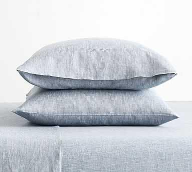 Belgian Flax Linen Pillowcases, King, Set of 2, Chambray - Pottery Barn