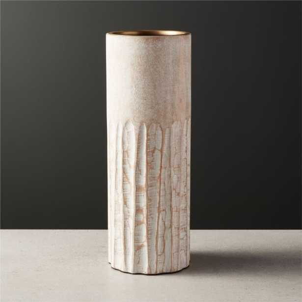 Notch Mango Wood Plllar Candle Holder Large - CB2