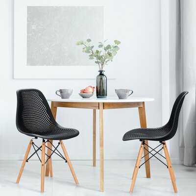 George Oliver 2pcs Modern Dsw Dining Chair Office Home W/ Mesh Design Wooden Legs Black - Wayfair