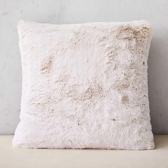 "Faux Fur Chinchilla Pillow Cover, Set of 2, Stone White, 20""x20"" - West Elm"