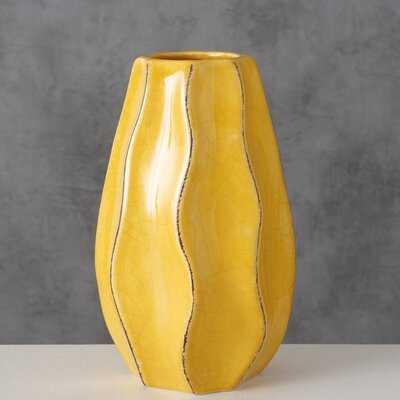 "Funsch Yellow 7"" Stoneware Table Vase - Wayfair"