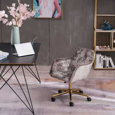 Classical Velvet Material Adjustable Height 360 Revolving Home Office Chair With Gold Metal Legs And Universal Wheel For Indoor - Wayfair