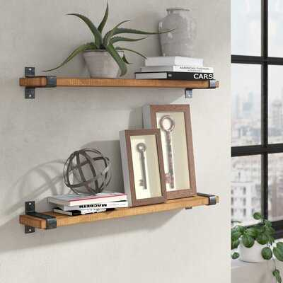 Abasi 2 Piece Pine Solid Wood Floating Shelf - Wayfair