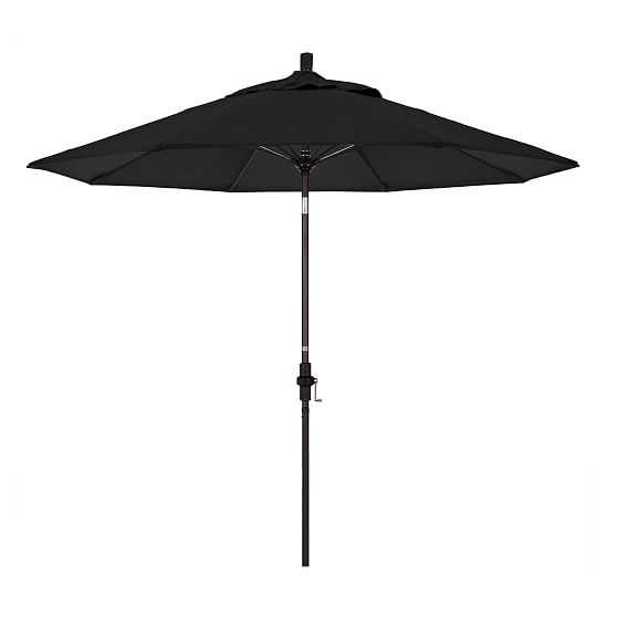 Outdoor Market Umbrella, 9 Ft, Round, Bronze, Sunbrella Canvas, Black - West Elm