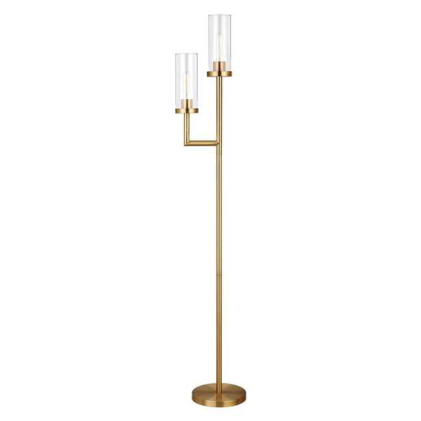 Hudson&Canal Basso Brass Finish Floor lamp Clear Glass Shades - Home Depot