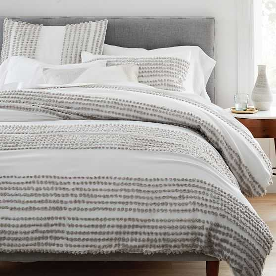 Candlewick Duvet & Standard Sham, Stone Gray & Stone White, Full/Queen - West Elm