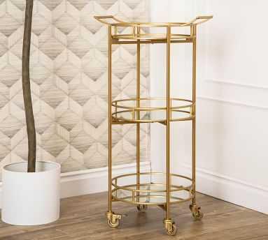 "Jurupa Metal Bar Cart, Matte Gold 39.5"" h - Pottery Barn"