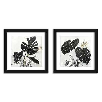 Americanflat Black Monstera Leaves Wall Art - Set Of 2 Framed Prints By PI Creative - Wayfair