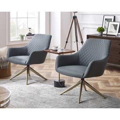 Mid-Century Modern Swivel Armchair With Golden Legs(Set Of 2) - Wayfair