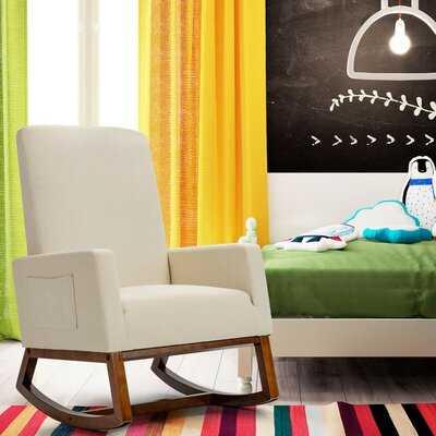 Gemma Violet Rocking Chair High Back Upholstered Lounge Armchair W/ Side Pocket Beige - Wayfair