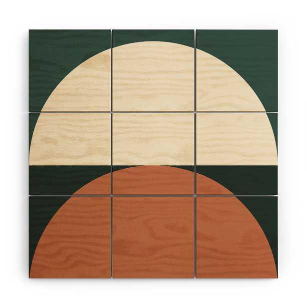 "Wood Wall Mural, Abstract Geometric 01e, 36"" X 36"" - Wander Print Co."