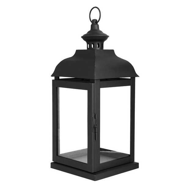 Hampton Bay 14 in. Traditional Black Steel Outdoor Patio Lantern - Home Depot
