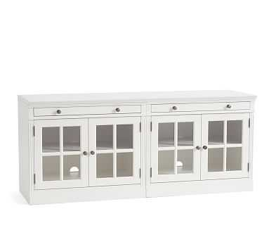 """Livingston 70"""" Media Console With Glass Cabinets, Montauk White - Pottery Barn"""