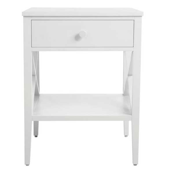 StyleWell Oakley Rectangular White Wood 1 Drawer End Table with X Side Detail (18 in. W x 24 in. H) - Home Depot