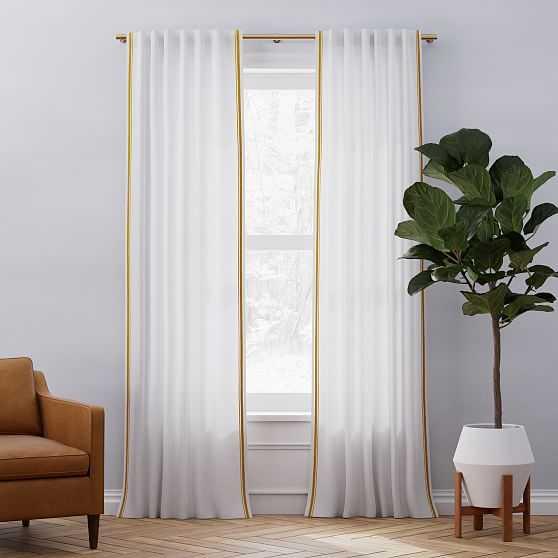 """European Flax Linen Embroidered Stripe Curtain, White + Dark Horseradish, 48""""x84"""" - West Elm"""