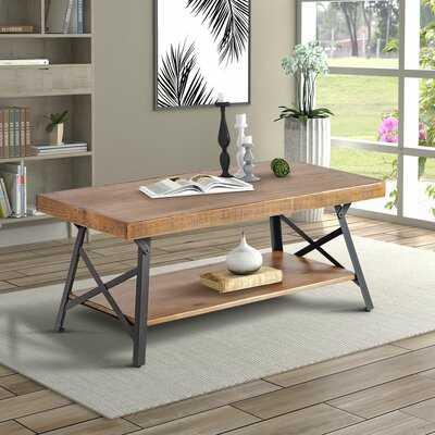 U_style 43'' Metal Legs Rustic Coffee Table, Solid Wood Tabletop - Wayfair