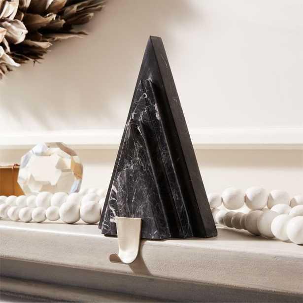 Black Marble with Nickel Hook Tree Stocking Holder - CB2