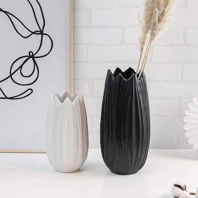 Ceramic Decorative Vase, Black And White Petaloid Modern Vases For Home Decor, Living Room, Flower, Mantel, Table, Shelf Decoration-Set Of 2 - Wayfair