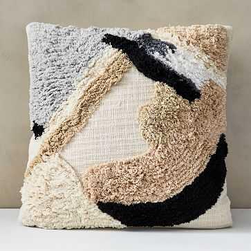 "Shape Block Shag Pillow Cover, 20""x20"", Belgian Flax - West Elm"