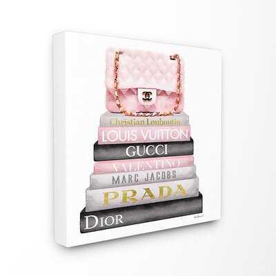 'High Fashion Bookstack Padded Bag' Watercolor Painting Print - Wayfair