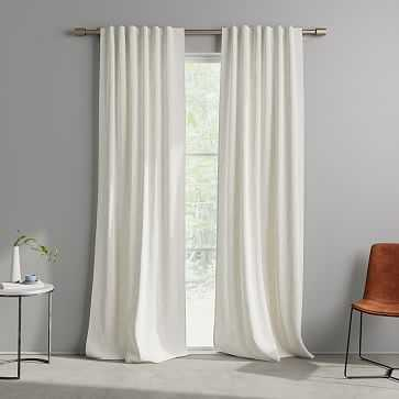 """Cotton Canvas Fragmented Lines Curtains (Set of 2), 48""""x108"""", Frost Gray - West Elm"""