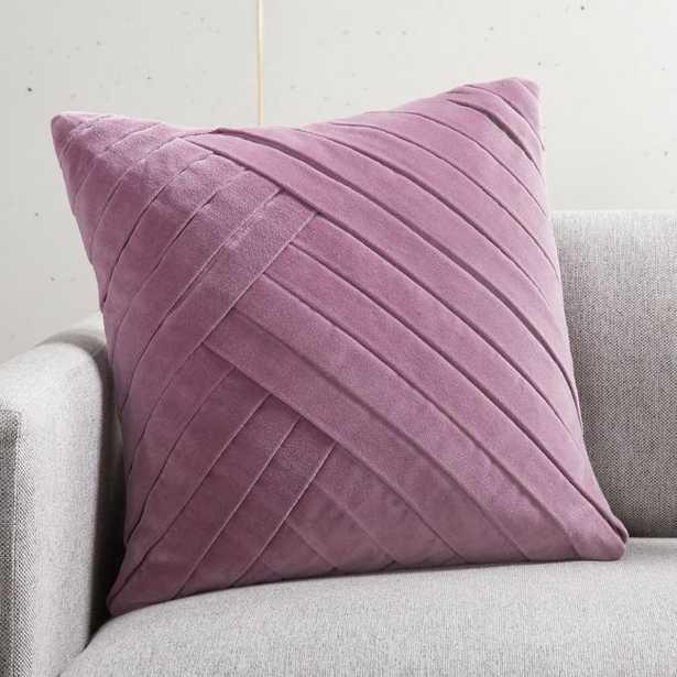 """18"""" Leger Velvet Pillow Lilac with Down-Alternative Insert - CB2"""