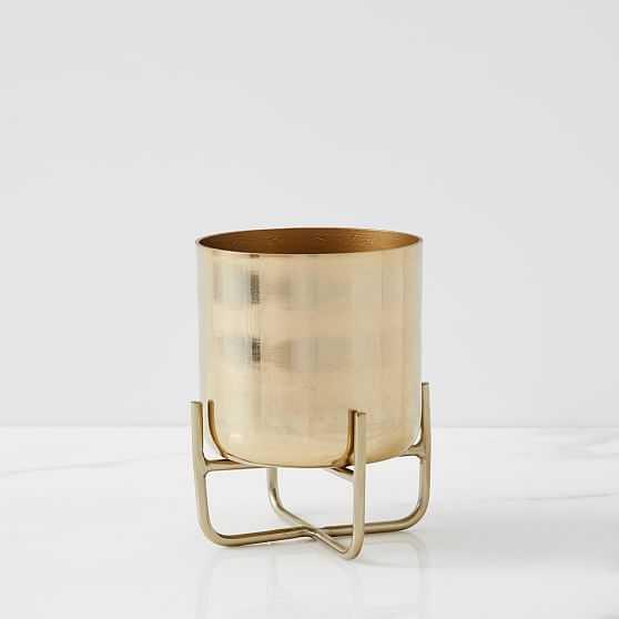 Spun Metal Tabletop Planter, Small, Antique Brass - West Elm